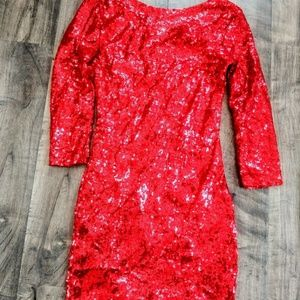 0232cdadba Dresses   Skirts - Red Sequin 3 4 Sleeve Dress